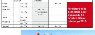 Horaires des déchèteries du Pays des Achards du 1er octobre au 31 mars