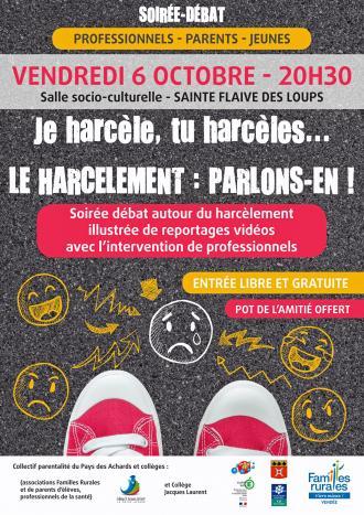 SOIRÉE DÉBAT «LE HARCÈLEMENT» | VENDREDI 6 OCTOBRE 20 h 30